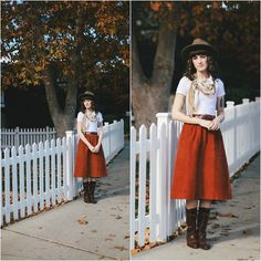 Brixton Hat, American Apparel Top, Vintage Skirt, Vintage Boots