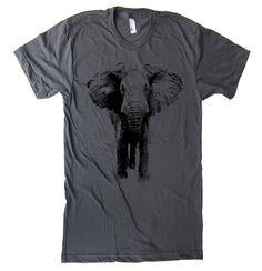 Mens Elephant Charging T Shirt - American Apparel Tshirt - XS S M L XL and XXL (28 Color Options) on Etsy, $20.00