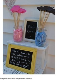 ok its not a birthday idea but a baby shower idea. Mustache or pink lips? This is a fun way for baby shower guests to make their pick before a gender reveal Gender Reveal Photos, Baby Gender Reveal Party, Gender Party, Gender Reveal Party Decorations, Shower Party, Baby Shower Parties, Baby Showers, Bridal Shower, Theme Bapteme
