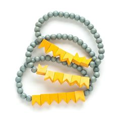 Little Flags bracelet, grey and yellow