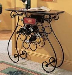 Wrought Iron Wine Label Design 9 Bottle Wine Stand with Table Console Style, Wine Rack Table, Iron Wine Rack, Wine Racks, Wrought Iron Decor, Steel Art, Iron Furniture, Iron Table, Iron Art
