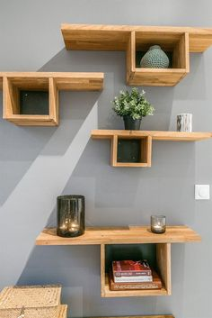 Wall Shelving with Floating Wall Shelves is Fun. Wall Shelving with Floating Wall Shelves is Fun. Wall Storage Shelves, Floating Wall Shelves, Wall Shelves Design, Floating Bookshelves, Rustic Shelves, Wood Shelves, Home Decor Furniture, Diy Home Decor, Furniture Ideas