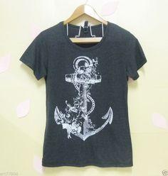 Anchor tshirt Light black shirt,Vintage flower Women,Teen tshirt size S M L