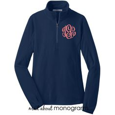 Monogrammed Microfleece Quarter Zip True Navy Blue Pullover Preppy... ($35) ❤ liked on Polyvore featuring tops, grey, sweater vests, sweaters, women's clothing, zipper top, grey sweater vest, sweater pullover, zip sweater vest and navy tops
