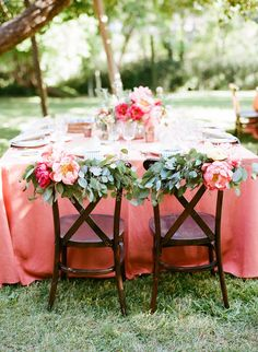 Peony chair adornments for this preppy wedding at Dawn Ranch.  Christina McNeill.