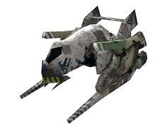 """A low poly space ship model for the """"Marauders"""" faction, of the mobile game """"Flying! Thunder !Chase!"""", by Dynamic Realities"""