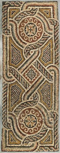 A ROMAN MARBLE MOSAIC PANEL   Circa 4th-5th Century A.D.   The rectangular panel with a complex geometric pattern including two medallions with foliate centers surrounded by wave, with an entwined simple guilloche and solid band as the border, which then encircles the medallions and a central diamond with a checker pattern, the voids filled with chevrons