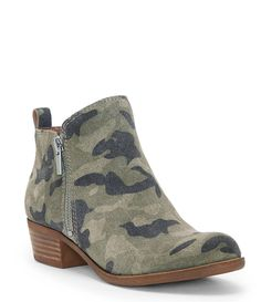 95d000157 Shop for Lucky Brand Basel Camo Print Suede Side Zip Booties at  Dillards.com.