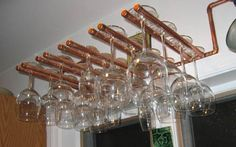 copper pipe wine glass rack