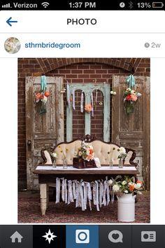 Shabby chic bride & groom reception table