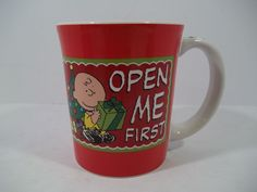"""CHARLIE BROWN Coffee Mug """"OPEN ME FIRST"""" 15 Oz by PEANUTS - Gift & Tree -SNOOPY"""
