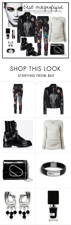 """""""Dolce & Gabbana Embellished Leather Jacket Look"""" by romaboots-1 ❤ liked on Polyvore featuring Maybelline, Dolce&Gabbana, Valentino, Rick Owens, 3.1 Phillip Lim, John Hardy, NOVICA, Nasomatto and Christian Dior"""