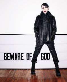 Marilyn Manson wears a Alexandre Plokhov jacket and boots, John Varvatos shirt and Fangophilia rings. /PAPERMAG  Photographed by Terry Richardson
