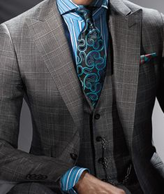 Turqoise is a color that looks good with any skin tone. It also makes you look good. Put on some turquoise men! -J Paul Stuart spring/summer 2014 Fashion Mode, Look Fashion, Mens Fashion, Fashion Beauty, Gentleman Mode, Gentleman Style, Sharp Dressed Man, Well Dressed Men, Mens Attire