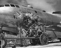 WWII - BORED BOMBER CREW RE-ENACTS NOSE ART PICTURE!