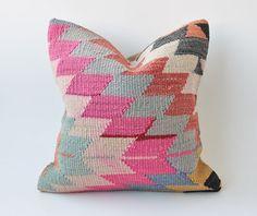 "Decorative Kilim Pillow 16"" x 16"" - Designer Pillow, Turkish Kilim Pillow, Modern Bohemian Home Decor (FREE SHIPPING)"