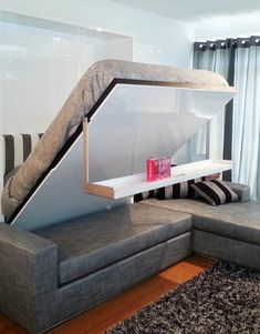 Murphey bed that folds up into a wall with a shelf. Studio apartment? No problem. Flip that one room from the bedroom to the living room in a matter of seconds.