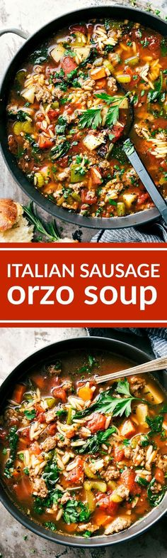 You Have Meals Poisoning More Normally Than You're Thinking That Italian Sausage Orzo Soup A Delicious And Simple To Make Italian Sausage Soup With Plenty Of Veggies Clear Out Your Fridge And Orzo Pasta. Sausage Recipes, Chili Recipes, Crockpot Recipes, Soup Recipes, Dinner Recipes, Cooking Recipes, Healthy Recipes, Simple Recipes, Pasta Recipes