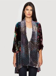 9dcf2556b4b6 The Johnny Was DREAM KIMONO Jacket is the perfect boho layering piece! This  velvet kimono jacket features a colorful patchwork print that combines  floral ...