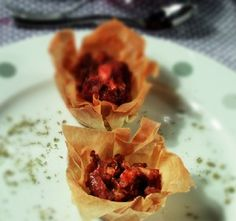 Phyllo Nests with spicy chicken LitsaB recipes from the book Boukia Boukia