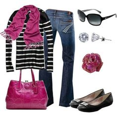 Spring outfit idea to transition dark winter colors with a pop of pink.