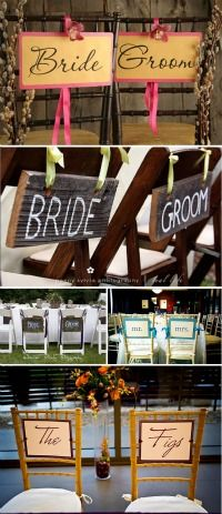 Bride and groom signs: barn wood