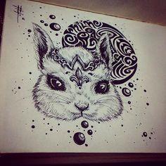 Day4: Ernilhe = Princess #dailies #pen #penandink #inkBurp #art #doodleart #rabbit #cute #hotp #tattoo #tintacity #BandW #365Days