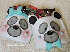 Cute Panda Cartoon, Panda Party, Christmas Yard Decorations, Diy Notebook, Ideas Para Fiestas, Goodie Bags, Flower Art, Paper Art, Craft Projects
