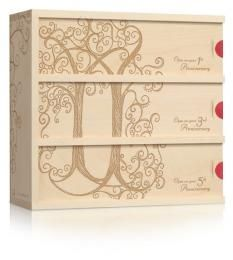 this is a pretty cool idea - - wine for a wedding -- personalized wine box that you can have wine added to for opening on 1st, 3rd and 5th or 1st, 5th and 10th anniversaries