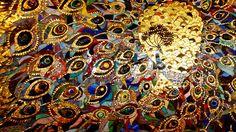 'Павлин'. Панно из мозаики и смальты с элементами фьюзинга и художественного стекла