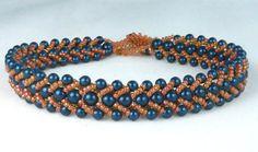 Men's Bracelet in Petrol Blue Crystal Pearls  and by SierraBeader