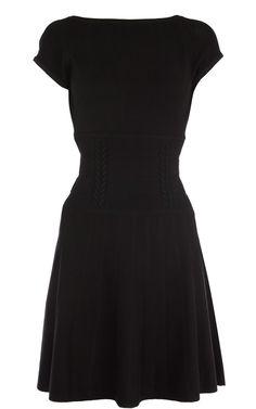 Karen Millen KN125 Black Knit and Ruffle Dress - http://www.yescoastdresses.com/  - Karen Millen KN125 Black Knit and Ruffle Dress