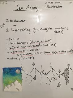 Art Room Britt: Jen Aranyi Mountain-scape Mixed-Media Illustrations Source by Winter Art Projects, Art Projects For Teens, School Art Projects, High School Art, Middle School Art, Classe D'art, Art Education Projects, 8th Grade Art, Art Curriculum