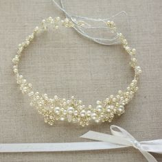 Pearl bridal halo Pearl hair vine Pearl headband by LeFlowers