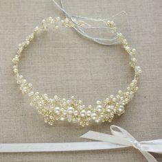 Pearl bridal halo Pearl hair vine Pearl headband by LeFlowers