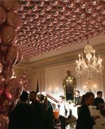 Balloon-Covered Ceiling Highlight Stella McCartney's Uptown Presentation ::Balloons in the News Balloon Ceiling, Ceiling Lights, Balloon Delivery, Balloon Bouquet, Bat Mitzvah, Balloon Decorations, The Hamptons, Balloons, Highlight