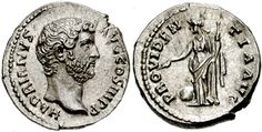 HADRIAN. 117-138 AD. AR Denarius (3.31 gm). Struck 134/5-138 AD. HADRIANVS AVGVSTVS COS III P P, bare head right / PROVIDEN-TIA AVG, Providentia standing left, holding sceptre; globe below. RIC II 261; BMCRE 694; RSC 1204. (Image courtesy CNG)