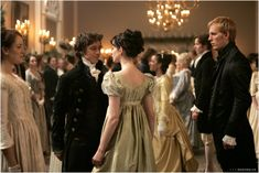Becoming Jane (2007). Anne Hathaway as Jane Austen and James MacAvoy as Tom LeFroy. #CostumeDesign by Eimer Ni Mhaoldomhnaigh