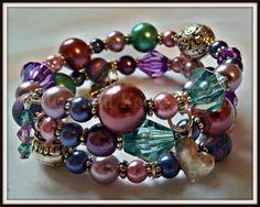 Purple Beaded Cuff Bracelet, Teal Wrap Jewellery, Bead Jewelry, Gift For Her, Girlfriend Gift Under 10, Birthday Present, Valentines Present
