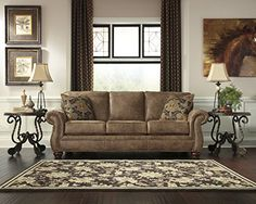 Larkinhurst Traditional Earth Color Faux Leather Sofa >>> Visit the image link more details. (This is an affiliate link and I receive a commission for the sales)