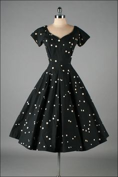 Vintage 1950s Dress JERRY GILDEN Polka Dots | mill street vintage