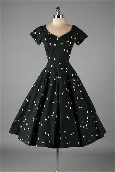 Vintage 1950s Dress JERRY GILDEN Polka Dots | mill street vintage