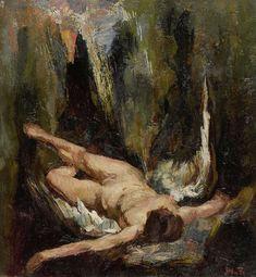 Willem de Zwart | De gevallen engel, Willem de Zwart, 1885 - 1931 | Een gevallen engel ligt met de armen uitgestrekt op een rotsachtige bodem.