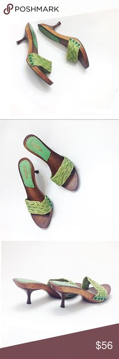 Tribeca Kenneth Cole Lime Lemon Green Clog Sandals TriBeCa by Kenneth Cole Reaction Platform Slide Sandals! Lime Green Front Strap, with brown wooden kitten heels, small platform adds comfort & stability to these retro clog mule style • smoke & cat free home! • soft raffia / straw upper, with studs detailing on the sides, cute & comfy. Great for office, casual dressy work, back to school, church, honeymoon vacation, pool, or any day! Fun Boho & Trendy Anthropology Fashion! • worn once Size…