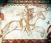 KNIGHT TEMPLAR. Fresco, c1175, at Cressac, France.