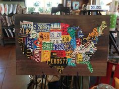 License Plate Map  Large Art Piece Made From Vintage License - Map license plate us