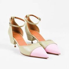 Givenchy | Givenchy Nib Light Green Pink Leather Exposed Heel