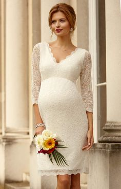 Gorgeous Maternity Wedding Dresses By Tiffany Rose - A classic, knee-length shift dress with soft stretch corded lace is lined with premium jersey for added luxury. #wedding #dresses #gown #bridal #love #maternity #pregnant