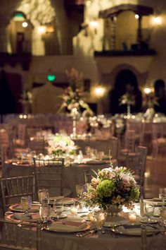 Formal Wedding Reception: center piece and lighting