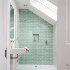 another nice alternate tile color also like the placement of shower control near entry lovely shower and sky light are my favorite parts